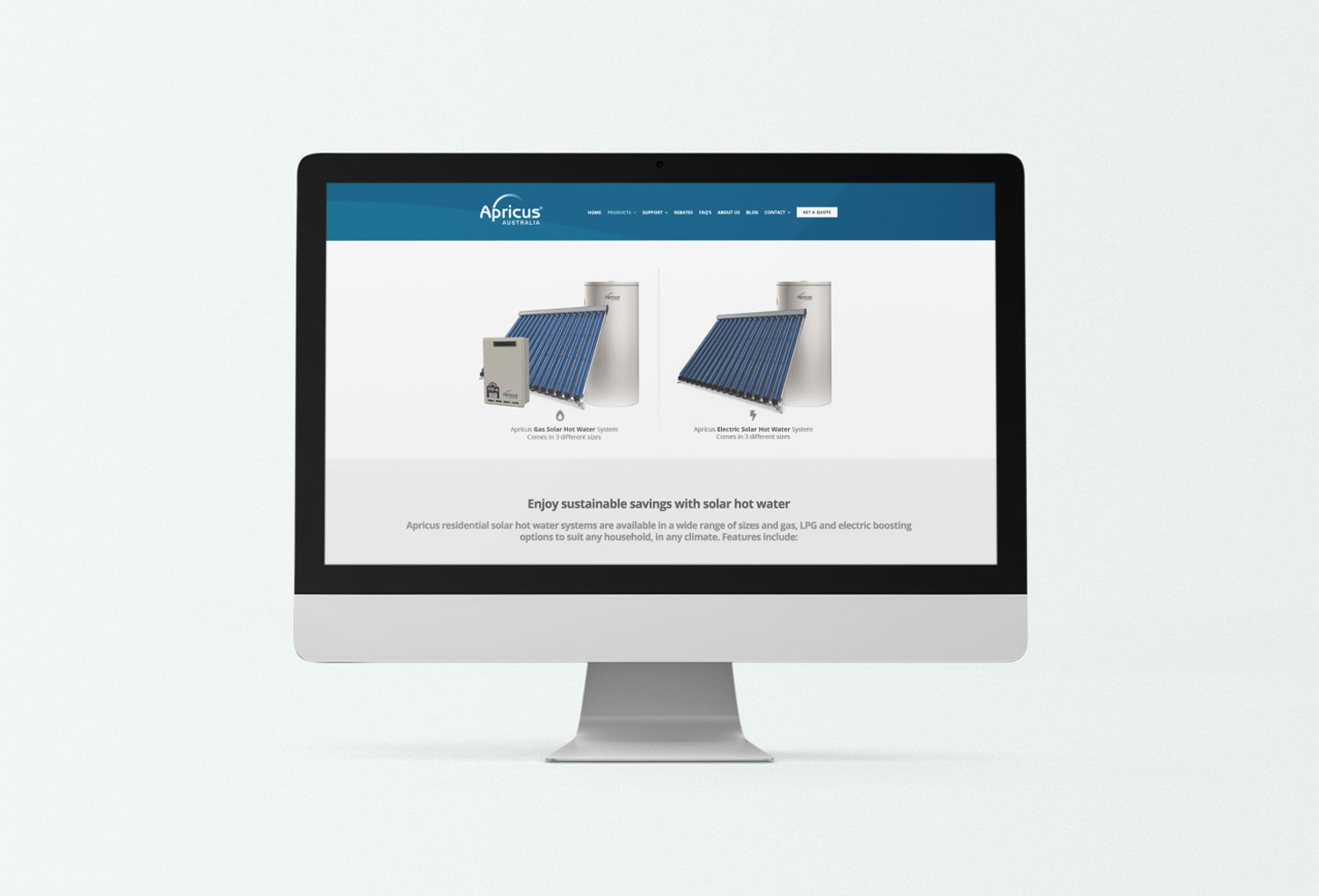 Apricus Solar Energy Product Page Website Design By Mango Tree Media