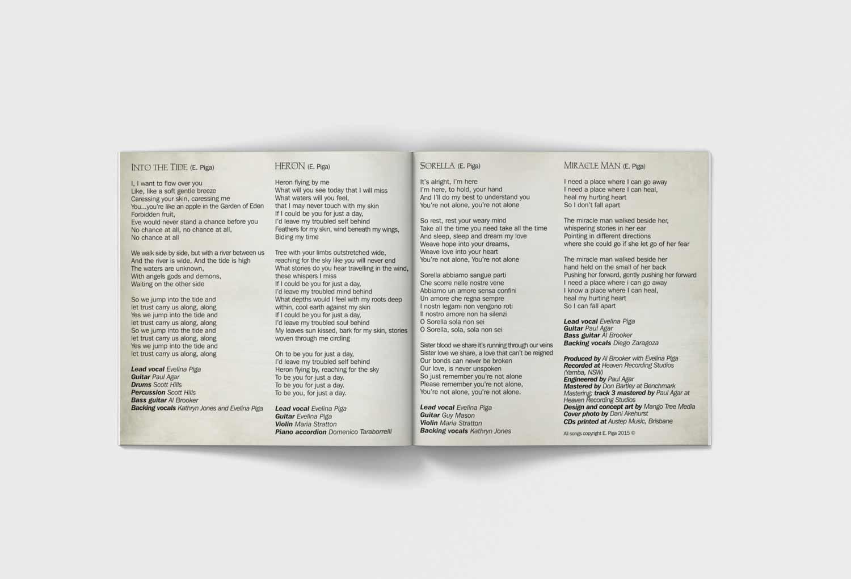 Evelina Piga CD Inside Booklet Music Graphic Design By Mango Tree Media