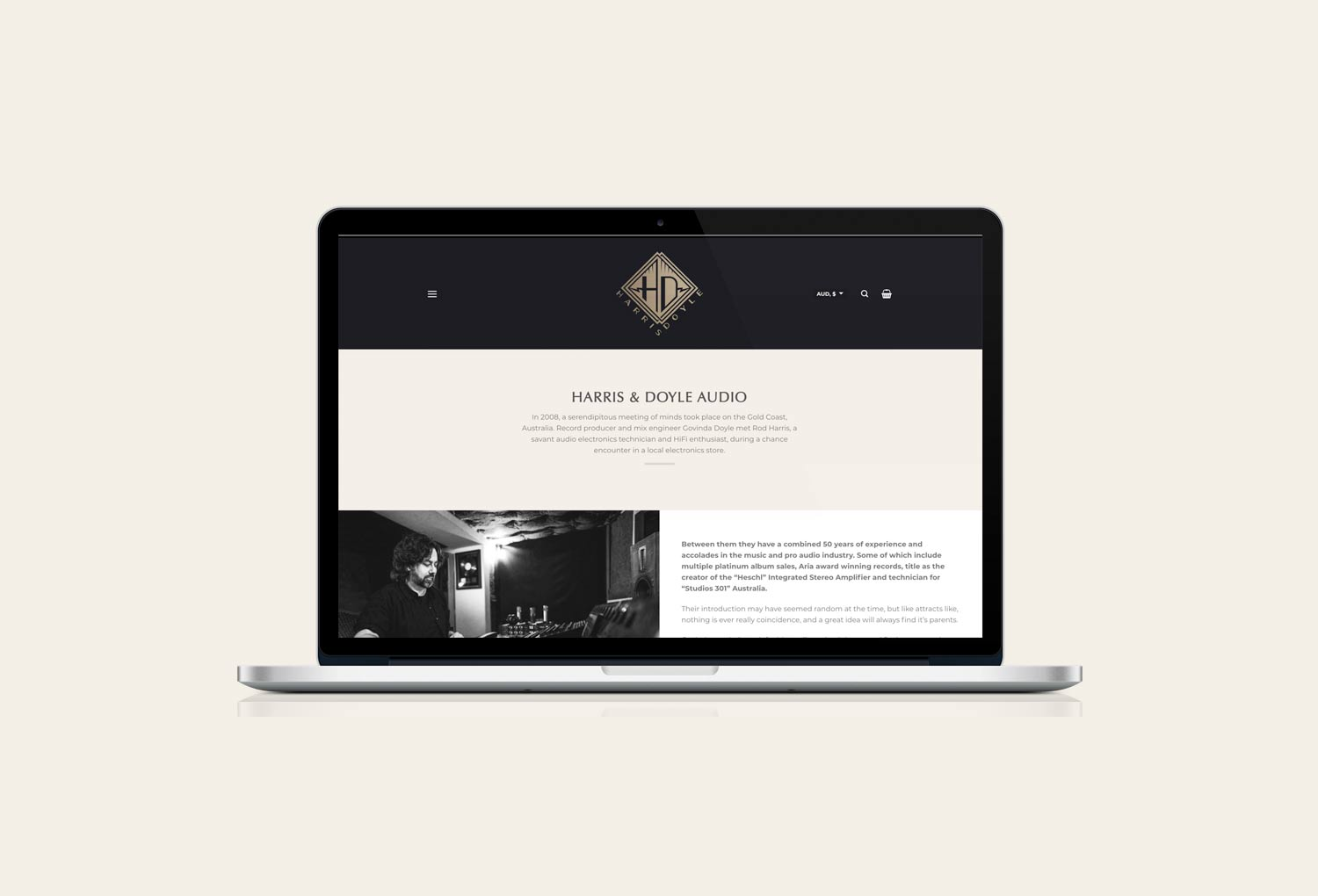 Harris Doyle Audio About Page Website Design By Mango Tree Media