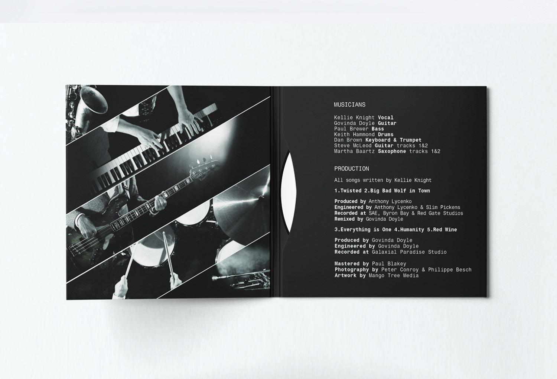Kellie Knight and The Daze Soul, Funk and Jazz Music Inside CD Inside Sleeve Design By Mango Tree Media
