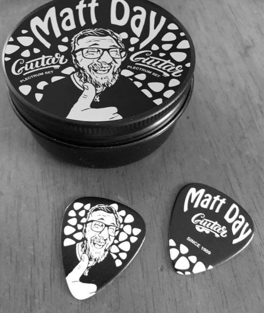 Matt Day Guitar Pic and Packaging Music Merch By Mango Tree Media