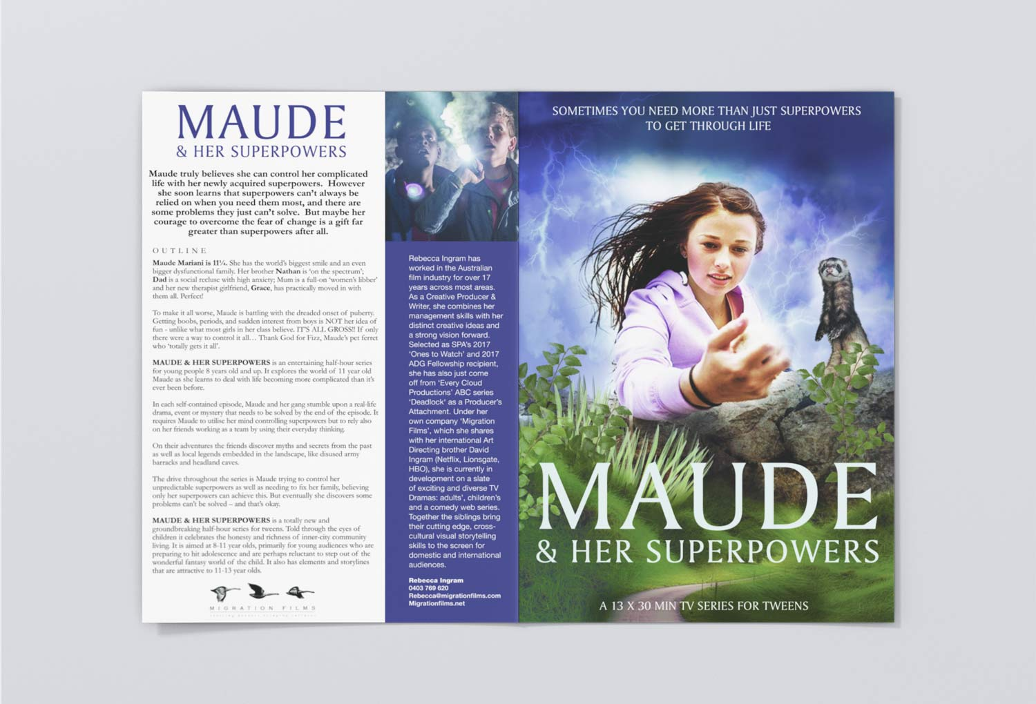 Maude and Her Superpowers TV/Film One-Sheet Pitch Document By Mango Tree Media