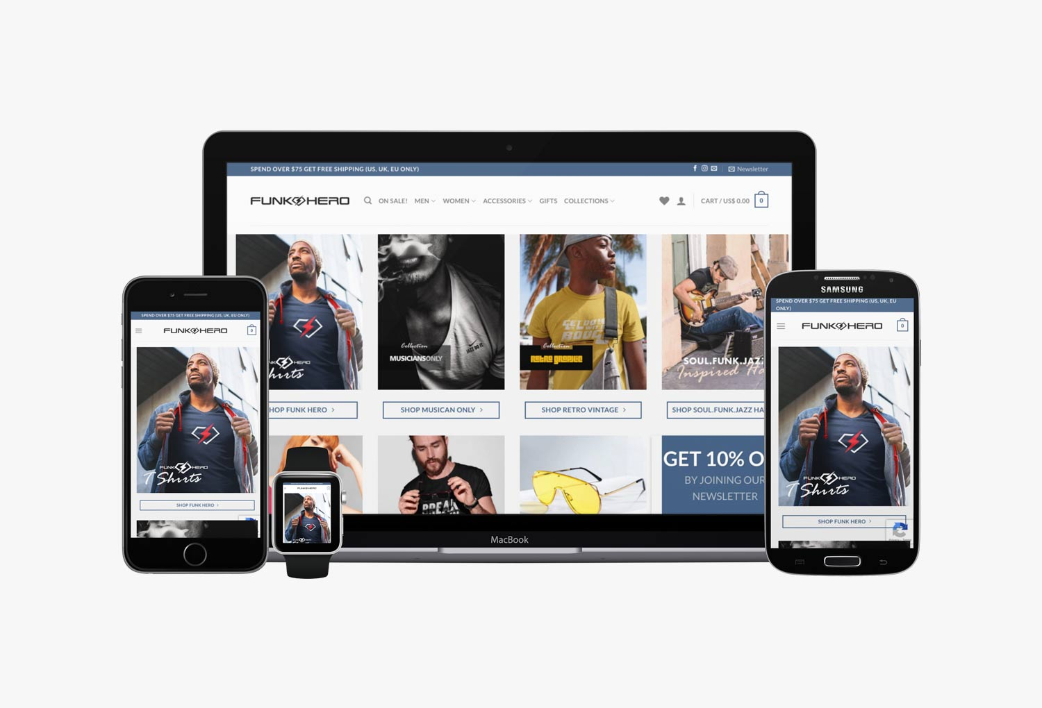 Funk Hero Fashion Online Store Home Page Website Design By Mango Tree Media