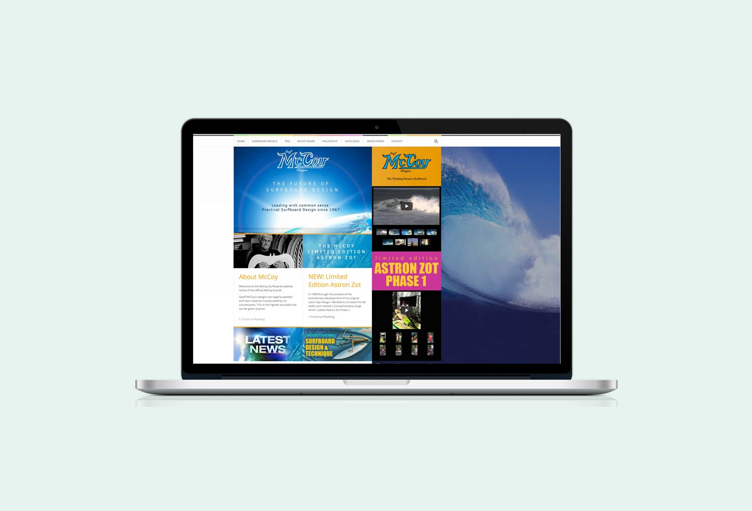 McCoy Surfboards Home Page Website Design By Mango Tree Media