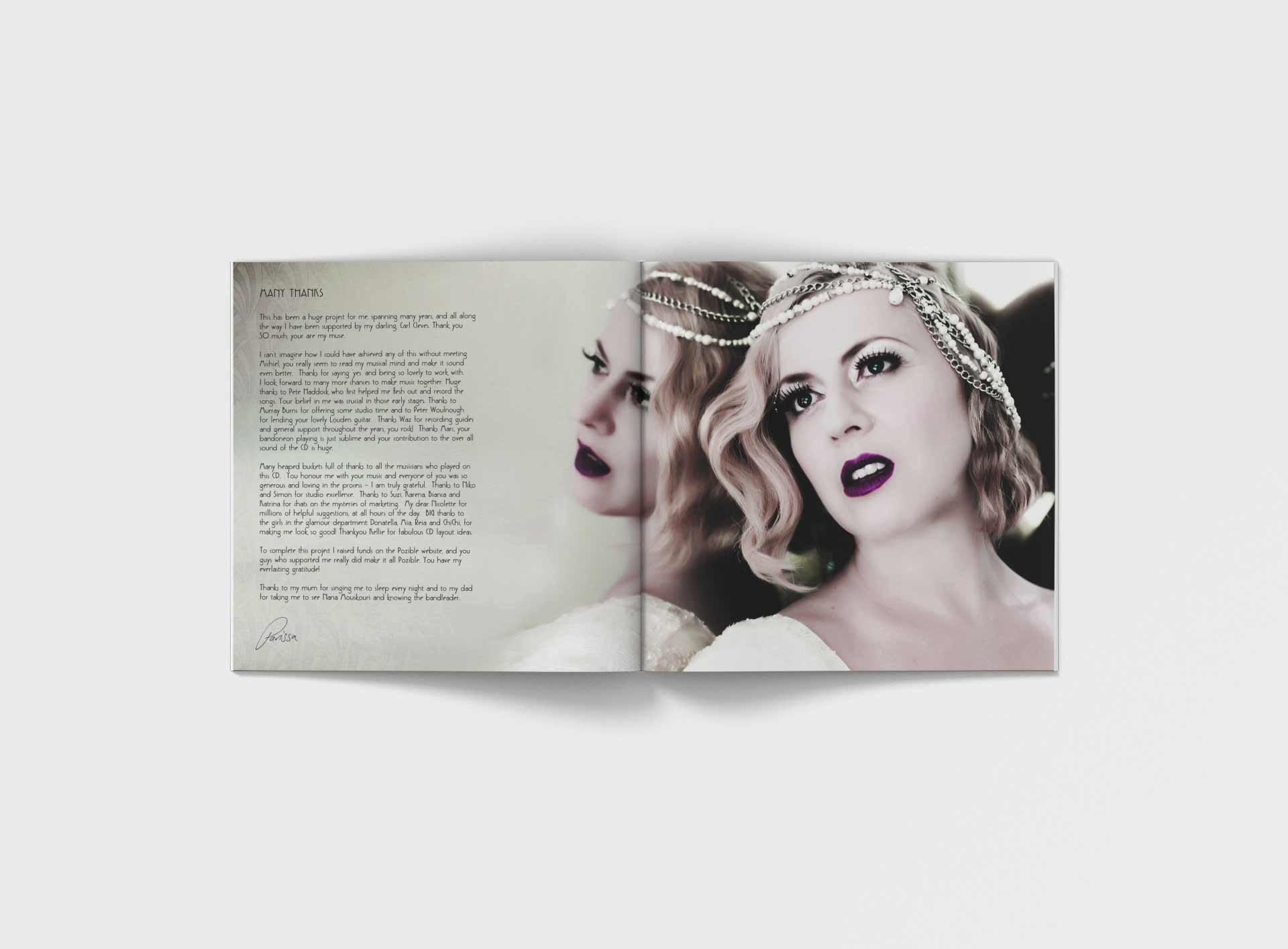 Parrisa Bouas Cd Inside Sleeve Music Graphic Design By Mango Tree Media